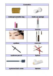 English Worksheet: everyday household items part 2 (cosmetics)