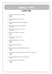English Worksheets: Pst Simple (Questions)