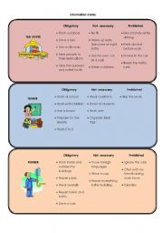 English Worksheet: Mingling activity! (Had to / didn´t have to / wasn´t allowed to) & (Must / don´t have to / mustn´t) & (Will have to / won´t have to / won´t be allowed to) + OCCUPATIONS!