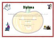 English Worksheet: Diploma Halloween 2