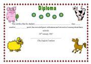 English Worksheet: Diploma on Farm Animals
