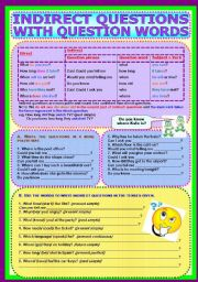 English Worksheets: Indirect Questions with Question Words