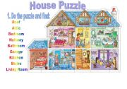 English Worksheet: House Puzzle