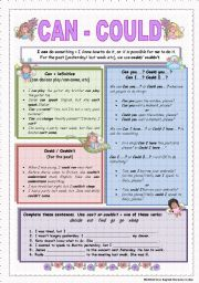 English Worksheet: Can / Could