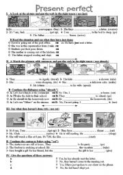 English Worksheet: Pre.Perfect: just - already - yet - ever - never -