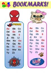English Worksheet: ABC BOOKMARKS FOR BOYS AND GIRLS -  A SET OF 6  FUNNY BOOKMARKS WITH ALPHABET AND CARTOON CHARACTERS! (EDITABLE!!!) 3 pages