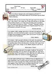English Worksheet: A TEST ABOUT THE MASS MEDIA