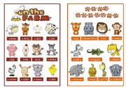 English Worksheet: Animal pictionary booklet - On the farm & Wild animals - 2/4