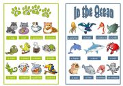 English Worksheet: Animal pictionary booklet - Pets & In the ocean - 3/4