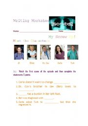 English Worksheets: Practice Writing with the show SCRUBS Episode