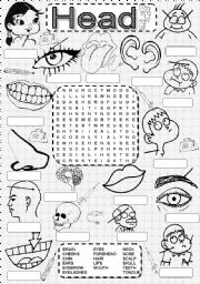 English Worksheet: Wordsearch HEAD