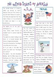 English Worksheet: ENGLISH-SPEAKING COUNTRY (5) - THE USA  - 2 PAGES