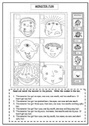 English Worksheet: Monster Fun (parts of the head and have got revision)