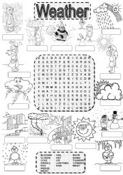 English Worksheet: Wordsearch WEATHER