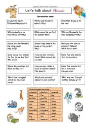 English Worksheets: Let�s talk about ANIMALS