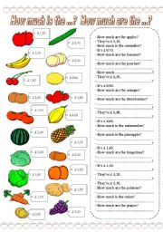 English Worksheet: How much is the ...? How much are the ...?