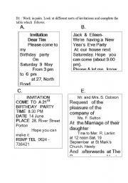 English Worksheets: Invitation cards.