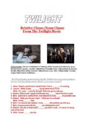 English Worksheet: Noun Clauses From Twilight