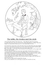 English Worksheets: The table, the donkey and the stick