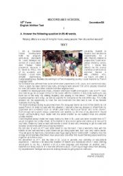 English Worksheet: Test on Volunteering