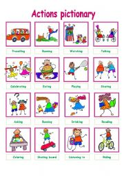 English Worksheet: CUTE ACTIONS PICTIONARY!
