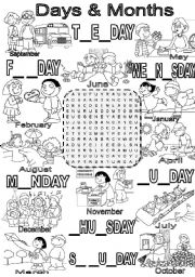 English Worksheet: Wordsearch DAYS & MONTHS
