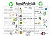 English Worksheet: recycling activities