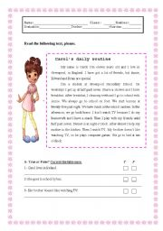English Worksheets: DAILY ROUTINE - 1st  Part ( 2 pages)