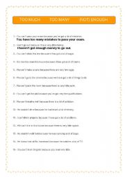 English Worksheets: TOO MUCH / TOO MANY / (NOT) ENOUGH