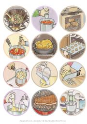 Mini Kitchen Verbs Flash Cards