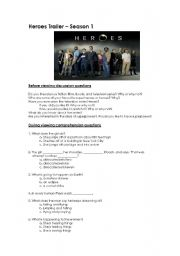 English Worksheets: Heroes Trailer - Season 1 Activity