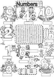 Wordsearch NUMBERS ONE TO TEN