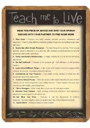 English Worksheet: SPEAKING FOR ADULTS - TEACH ME TO LIVE (2 pages)