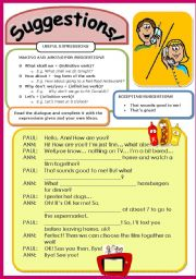 English Worksheet: FUNCTIONS: Making & asking for suggestions (12 / 5 / 09)
