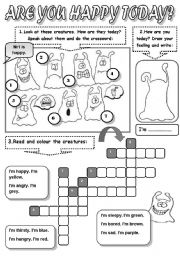 English Worksheets: ARE YOU HAPPY TODAY? - FEELINGS ( FEELINGS CROSSWORD, READING AND COLOURING)