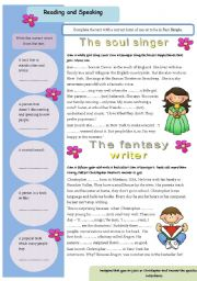 English Worksheets: The soul singer, The fantasy writer