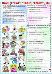 English Worksheet: HAVE (=
