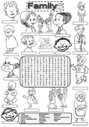 English Worksheet: Wordsearch FAMILY MEMBERS