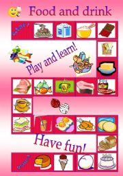 English Worksheet: Food and drink board game