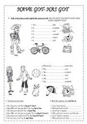 English Worksheet: HAVE GOT- HAS GOT