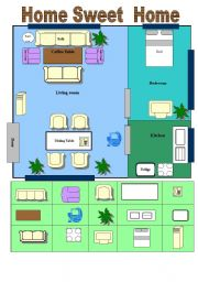 English Worksheet: A great WS about Describing A Home and things in a home Optional: Cut N Paste(2 Pages)With Key