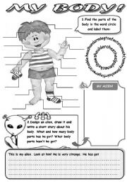 English Worksheet: MY BODY! - REVISION OF BODY PARTS (LABEL THE PARTS OF THE BODY, DESIGN YOUR ALIEN AND WRITE A STORY ABOUT HIS BODY)