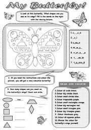 English Worksheet: MY BUTTERFLY! - FUN WITH SHAPES!!! (+ revision of colours and numbers) for kids -3 activities to practise shapes