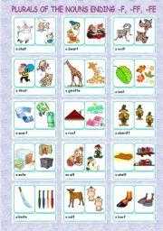 English Worksheets: plurals + nouns ending -f, -ff, -fe (1/5)