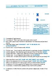 English Worksheet: 5 GRID TIC-TAC-TOE - BEHAVIOR QUESTIONS