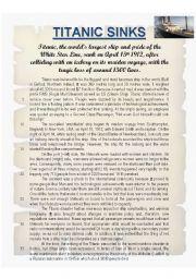 English Worksheets: TITANIC SINKS