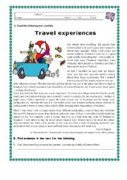 English Worksheet: TRAVEL EXPERIENCES