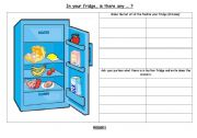 English Worksheet: food in the fridge pair work