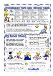 Worksheet: Verb Can- Simple Past (With Answer key) - ESL ...