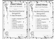 English Worksheet: �GOOD NEWS� Notice  and �MERIT� certificates.